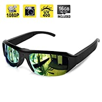 1080P HD Hidden Camera Sunglasses Pinhole Video Camcorder Support Photo Taking, UV400 Polarized Glasses Lens, 16GB Memory Card Built-in