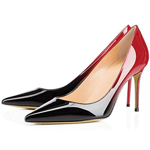 Stiletto Pumps, Comfity Sexy Pointy Toe Stiletto Heels Patent Slip On Zapatos De Boda Vestido De Fiesta Bombas De Tacón Negro Rojo