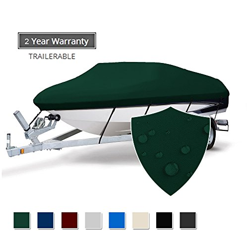Seamander Trailerable Runabout Boat Cover Fit V-Hull Tri-Hull Fishing Ski Pro-Style Bass Boats, Full Size (Forest Green, 17'-19'L Beam Width up to 96