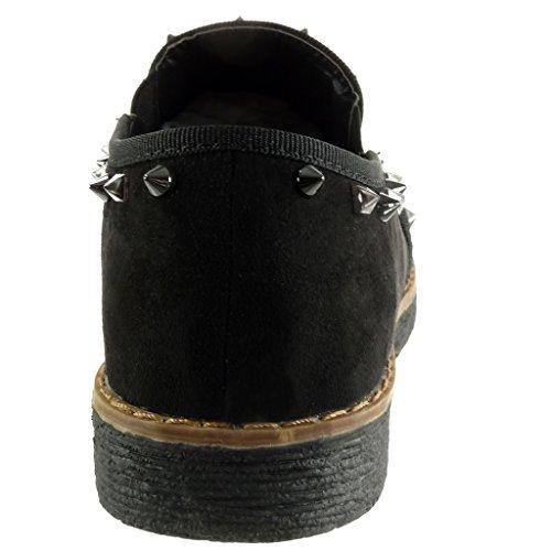 Angkorly Slip Pespunte Cm Zapatillas 2 Acabado on Negro Tacón Talón Tachonado Costura Ancho Mujer De 5 Moda Mocasines qrrIUw