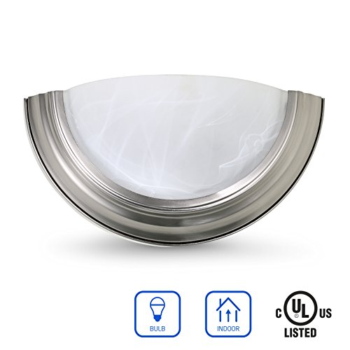 Modern Glass Sconce - OSTWIN 1-Light Interior Glass Wall Sconce Lighting Fixture WS08, Hardwire E26 Base Modern Wall Mount Lamp Lights, Brushed Nickel Finish with Alabaster Glass Shade, UL Listed