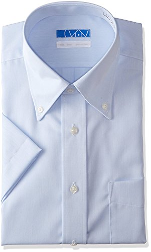 DRESSCODE101 Men's Dress Shirt Short Sleeve 100% Cotton Non Iron Regular Fit Blue Twill Button Down Japanese Products
