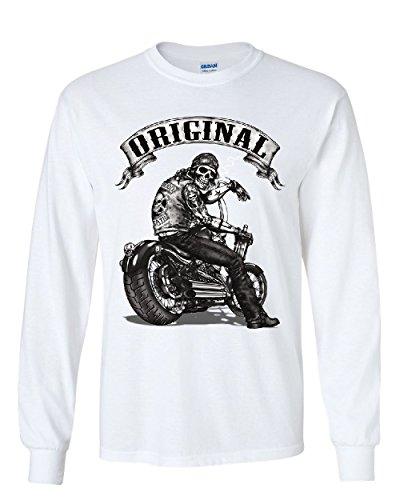 (Original Biker Skull Long Sleeve T-Shirt Ride or Die Route 66 Motorcycle MC Tee White M)