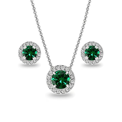 (Sterling Silver Simulated Emerald and White Topaz Round Halo Necklace and Stud Earrings Set)
