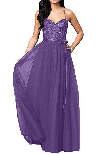 Langes mia Spitze Brau Partykleider Violett Neu Festlichkleider Tuell Bodenlang Brautjungfernkleider Abendkleider La Promkleider 6waZE