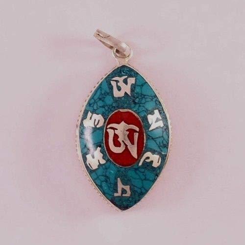 (Delicate Tibetan Turquoise Red Coral Inlay Om Mani Oval Ghau Prayer Box Pendant)