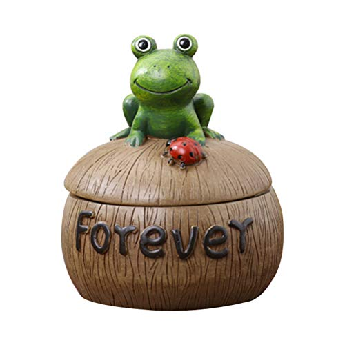 - VORCOOL Cute Ashtray Creative Frog Ashtray Resin Desktop Ashtray with Lid for Home Decoration