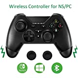 Wireless Switch Controller,Dual Shock Vibration Switch Pro Controller Compatible with Nintendo Switch Game Motion Gamepad Controller with 2pcs Thumb Grip Cover Anti Slip by Jazane Third Party Product