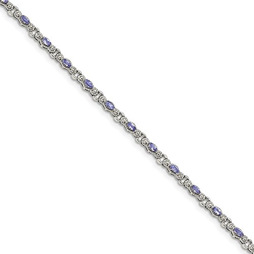 Sterling Silver Polished Tanzanite 7.5 inch Bracelet