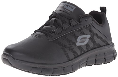 Slip Clogs Athletic (Skechers for Work Women's Sure Track Erath Athletic Lace Work Boot, Black, 5.5 M US)
