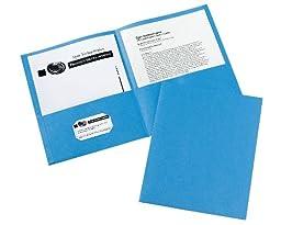 Avery Two-Pocket Folders, Light Blue, Box of 25 (47986)
