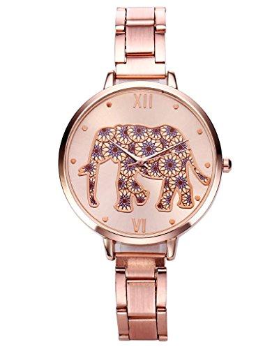 Top Plaza Fun Animals Womens Cute Elephant Dial Rose Gold Bracelet Watch, Thin Band