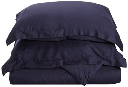 Quilt Cover 600 Thread Count Supreme Quality 3PC Duvet Cover Set 1 Piece Duvet Cover & 2 Piece Pillowshams Cal-King \ King Size Navy Blue Color Duvet cover with Pillow - Supreme Linen King