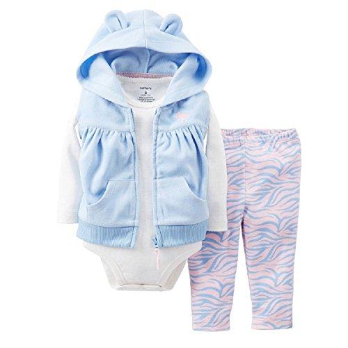 Carter's Baby Girls' 3-Piece Animal Hooded Fleece Vest Set (24 Months, Purple/Zebra)