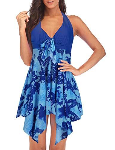 DANALA Women's Two Piece Halter V Neck Swimsuit Printed Tankini Sets Split Skirt Swimwear Sapphire Blue XL
