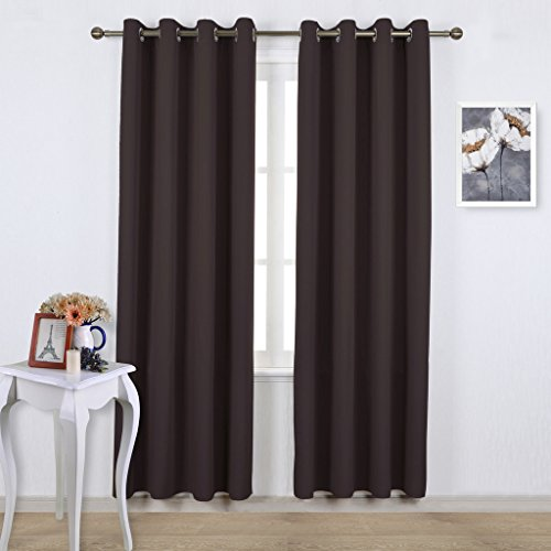 NICETOWN Bedroom Blackout Curtains and drapes - Energy Smart Thermal Insulated Solid Grommet Blackout Draperies for Livingroom (Two Panels, 52-Inch x 84-Inch, Toffee Brown)