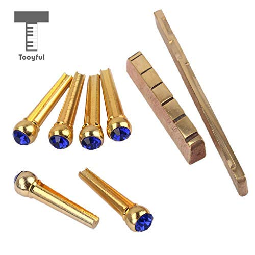 DDV-US - Brass Slotted Saddle Nut with Blue Opal Bridge Pins Set for Acoustic Folk Guitar Replacement Parts