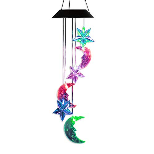 AceList Changing Color Stars and Ramadan Moon Wind Chime, Spiral Spinner Windchime Outdoor Decorative Solar Light Windbell for Patio Deck Yard Garden Home -