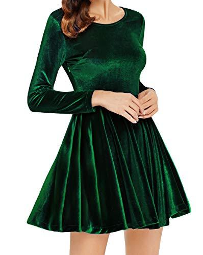 Annigo Womens Velvet Casual Short Long Sleeve Peter Pan Collar Flare Skater  Short Dress - Buy Online in UAE.  bea1716e0