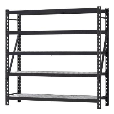 Husky 90 in. H x 90 in. W x 24 in. D 5-Shelf Welded Steel Wire Deck Shelving Unit in Black