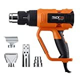 Tacklife Heat Gun Precision Control Variable Temperature Advanced 1600W 122℉~1112℉ (50℃~600℃) with Four Nozzle Attachments for Removing Paint, Bending Pipes, Shrinking PVC, Lighting BBQ | HGP73AC