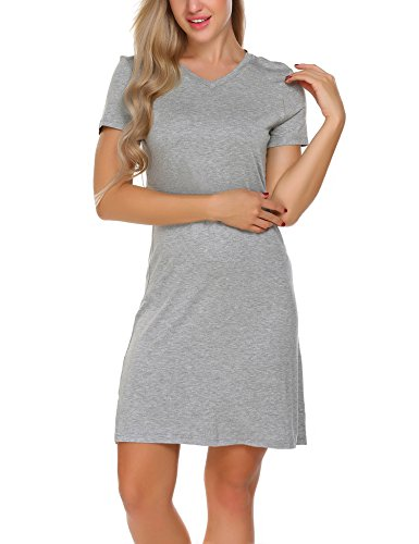 Gorgeous grey nightgown is beautiful in it's simplicity!  Perfect for sleeping in or lounging around your home in, soft, breathable & very comfy.