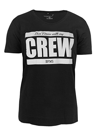 Be Famous Scooped Neck Domecrew T-Shirt black