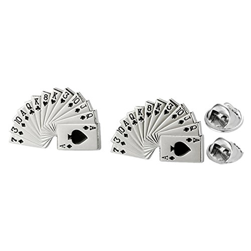 Pin Flush Royal Lapel (MGStyle Collar Tips For Men or Women - Spades Royal Straight Flush - Silver Tone - Alloy with Deluxe Gift Box)
