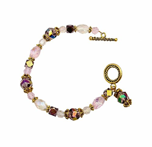 A-Ha Glass Bracelet with Bead Charm Pink (B33)
