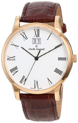 Claude Bernard Men's 63003 37R BR Classic Gents Rose Gold PVD Brown Leather Date Watch