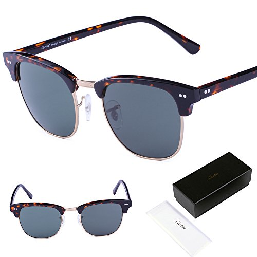 Carfia Classic Clubmaster Sunglasses Premium Half Frame Horn Glasses with Eyeglasses Case and Cleaning Cloth for Mens&Womens - 100% UVA&UVB Protection