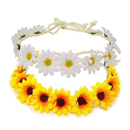 Honbay 2PCS Fashion Flower Headband Sunflower Hair Wreath Festival Hair Band Bridal Headpiece (yellow+white)