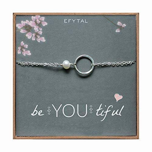 EFYTAL BeYouTiful Inspirational Bracelet, Sterling Silver Infinity Graduation Gift 4 Grad,Young Woman,Teen Girl