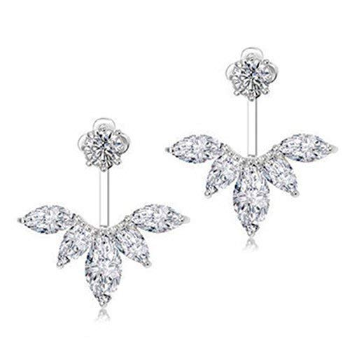 Odette Ring - Odette 18K White Gold Plated Clear Crystal Leaf Feather Ear Jacket Earrings Back Ear Cuffs Stud Earring (Silver)