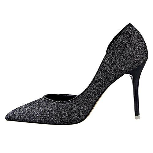 No.66 Town Women's Pointed-Toe D'Orsay Dress Pump Court Shoes Black VqRBiiR8