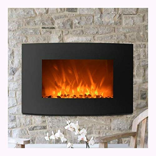 Cheap HEATAPPLY Curved Wall Mount 35-inch Electric Fireplace Heater Black Friday & Cyber Monday 2019