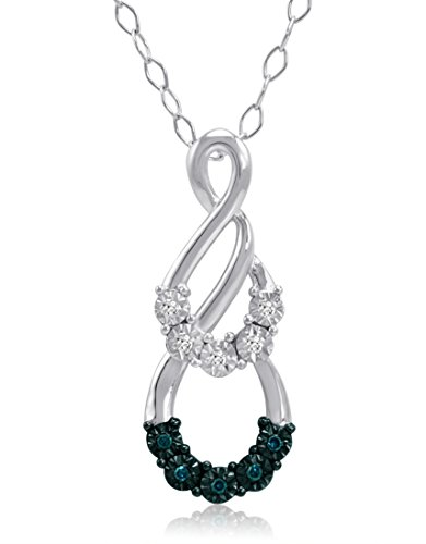 Blue and White Diamond Swirl Pendant-Necklace in Sterling Silver