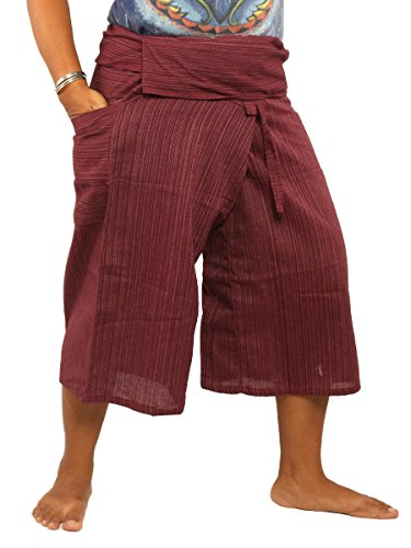 Thai Fisherman Shorts Single Color 100% Cotton-Mix Unisex for Men and Women with One Side Pocket Dark Red ()