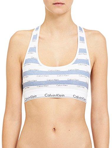 Calvin Klein Women`s Modern Cotton Bralette 1 Pack (Intarsia Logo Stripe(QF4105-480)/White, Medium) by Calvin Klein