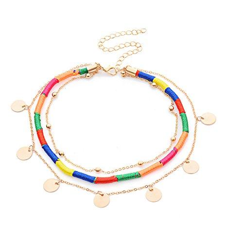 Weave Choker - Preeyawadee Colorful Weave Chokers Bohemian 3 Layers Handmade Gold Color Sequin Tassel Chokers