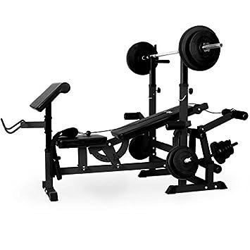 Klarfit KS Banco de musculación multifunción (Banco de pesas, Press de banca, aparato entrenamiento con cargas viadas, Curl-Pult Butterfly, curler piernas, ...