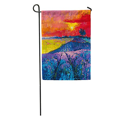 Semtomn Garden Flag Original Oil Painting on Canvas Modern Beautiful Lavender Field at Home Yard House Decor Barnner Outdoor Stand 28x40 Inches Flag
