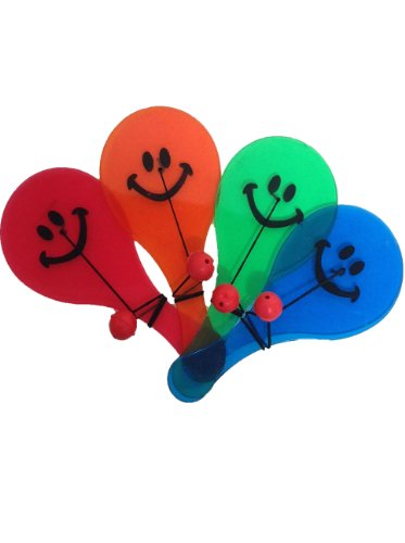 12 Pc Party Favor Fun Smiley Paddle Ball Toy
