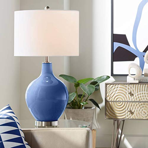 Modern Table Lamp Monaco Blue Glass OVO White Linen Drum Shade for Living Room Family Bedroom Bedside Nightstand Office - Color + Plus