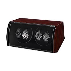 CRITIRON Automatic Watch Winder 2+3 Wood Storage Display Rotating Case Box (4+0)