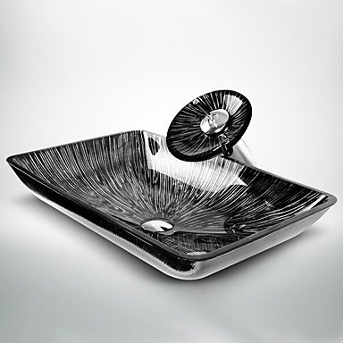 Rectangulaire en verre tremp/é noir blanc lavabo et cascade robinet vidange installation pop-up-et boucle