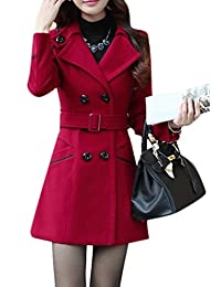 Youtobin Women's Winter Dress-Coats Slim Woolen With Belt Coat Parka