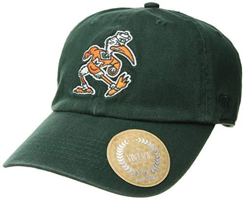 World Miami Hurricanes Green - Top of the World Miami Hurricanes Men's Vintage Hat Vault Icon, Green, Adjustable