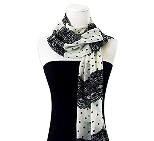Rivchell Fashion Scarf Female Scarves Black White Polka Dot Stripes Work Attire Accessories Business Office Clothing Ideas (White/Black)