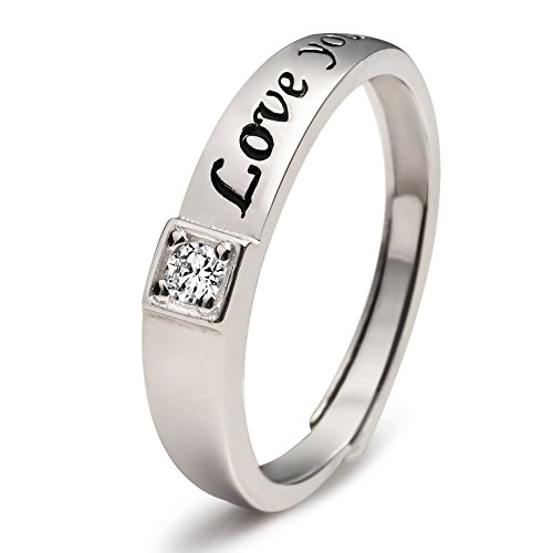 Sterling Engagement Engraved Romantic Adjustable